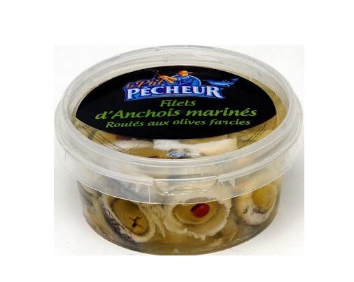 Filets  d'anchois  marinés roulés aux olives farcies